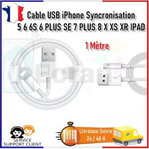Cable USB iPhone Synchro Chargeur 5 6 6S 6+ SE 7 7+ 8 X XS XR 11 Pro Max 11 iPad