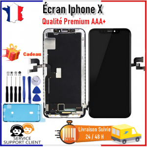 Ecran iPhone X iPhone 10 LCD Vitre Tactile AAA+ Noir Châssis + Kit OUTILS +Joint