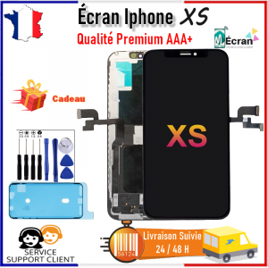 Ecran Apple Iphone XS LCD Vitre Tactile Complet AAA+ Noir Châssis Joint + OUTILS