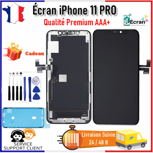 Ecran iPhone 11 PRO LCD Vitre Tactile Complet AAA+ Noir Châssis Kit OUTILS